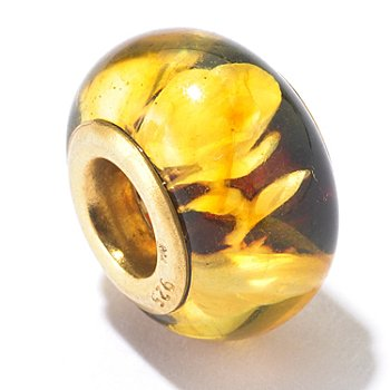 130-120 - Gems en Vogue II Carved Amber Rose Print Intaglio Charm