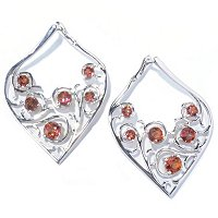 SS TEAR DROP SHAPE EARRING WITH SUNSET TOPAZ
