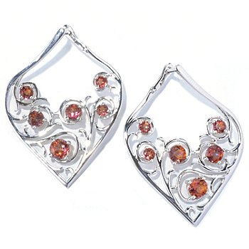 130-122 - Gem Treasures Sterling Silver 3.20ctw Sunset Topaz Teardrop Earrings