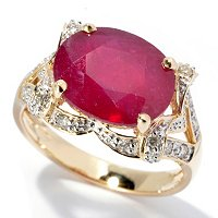 14K YG INNOVA RUBY RING WITH DIAMONDS