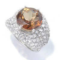 SS PAVE WHTE TOPAZ WITH ROUND CHOCOLATE TOPAZ RING