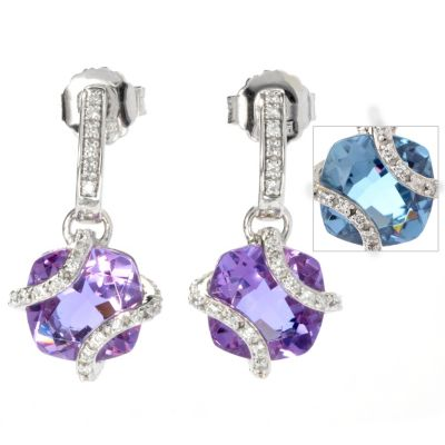 130-128 - Brilliante® 5.27 DEW Cushion Cut Color Change Alexite® & Simulated Diamond Drop Earrings