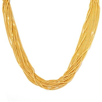130-131 - Scintilloro™ Gold Embraced™ 18'' Diamond Cut 12-Strand Necklace