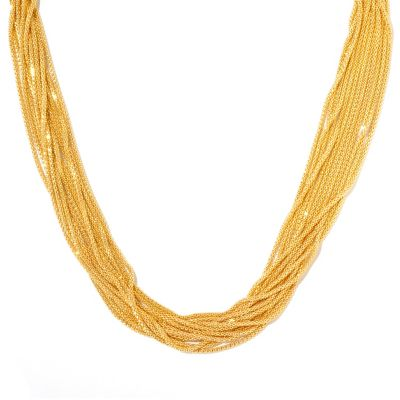"130-131 - Scintilloro™ Gold Embraced™ 18"" Diamond Cut 12-Strand Necklace"