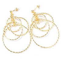 SS/18KGP EAR DIA CUT FOUR-TIER CIRCLE DANGLE
