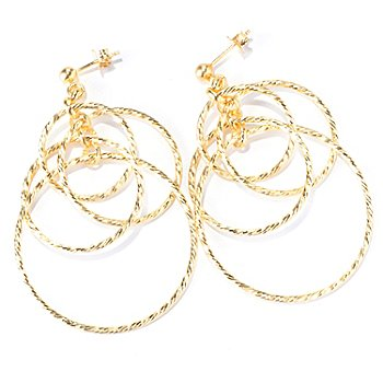 130-132 - Scintilloro™ Gold Embraced™ Diamond Cut Four-Tier Circle Dangle Earrings