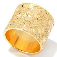 SS/18KGP RING DIA-CUT CONFETTI WIDE BAND