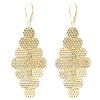 SS/18KGP EAR DIA-CUT 7 TIER CHANDELIER DANGLES