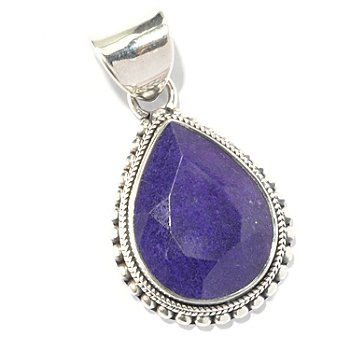 130-146 - Artisan Silver by Samuel B. 20 x 15mm Dyed Purple Sapphire Teardrop Pendant