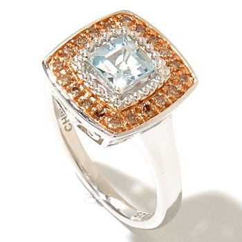 130-151 - Gem Insider Sterling Silver Aquamarine & Champagne Diamond Square Ring