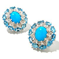 SS OVAL SLEEPING B WITH BLUE TOPAZ ACCENT BUTTON EAR