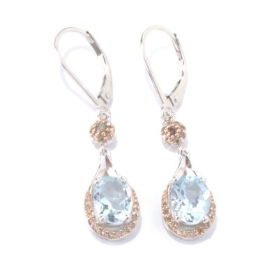 130-153 - Gem Insider Sterling Silver 2.32ctw Aquamarine & Diamond Drop Earrings