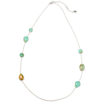 130-154 - Gem Insider Sterling Silver 24'' Blue-Green Kingman Turquoise Station Necklace