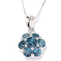 SS FLOWER GEM PEND WITH CHAIN