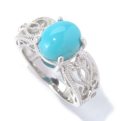 130-157 - Gem Insider Sterling Silver 10 x 8mm Oval Sleeping Beauty Turquoise Ring