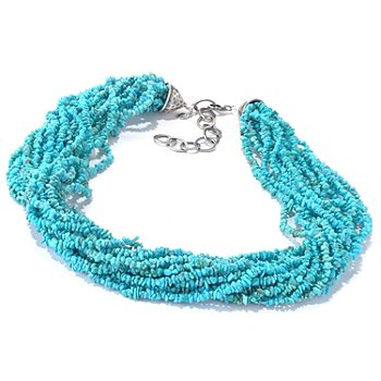 130-161 - Gem Insider Sterling Silver 18'' Multi Strand Turquoise Chip Bead Necklace