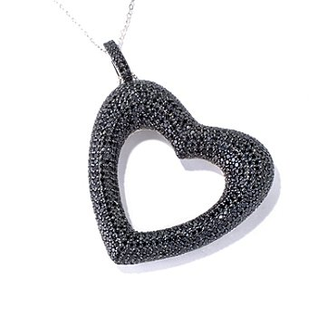 130-166 - Gem Treasures Sterling Silver 7.50ctw Black Spinel Heart Pendant w/ Chain
