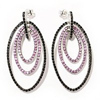 SS 3 ROW TEARDROP SHAPE EARRINGS W/PINK SAPP AND BLACK SPINEL