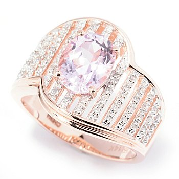 130-169 - Gem Treasures 14K Rose Gold 2.08ctw Kunzite & Diamond Wave Ring