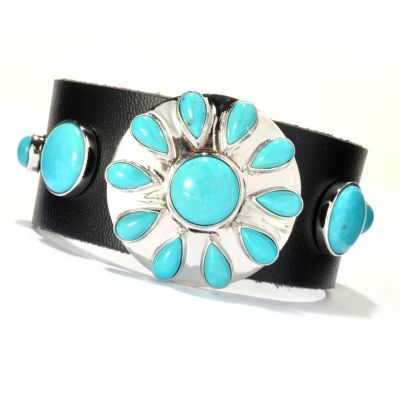 "130-176 - Gem Insider Sterling Silver & Leather 8"" Sleeping Beauty Turquoise Bracelet"