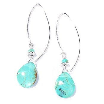 130-180 - Gem Insider 18 x 14mm Pear & Roundell Shaped Kingman Turquoise Drop Earrings
