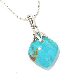 130-182 - Gem Insider Sterling Silver 24 x 21mm Kingman Turquoise Enhancer Pendant w/ Chain