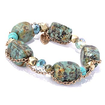 130-196 - Zen Gold-tone Turquoise Bead Chain Wrapped Stretch Bracelet