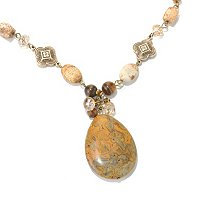 "17"" +3"" JASPER & BRASS NECKLACE"