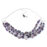 "17"" +3"" AMETHYST & SILVERTONE NECKLACE"