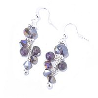 AMETHYST & SILVERTONE EARRINGS