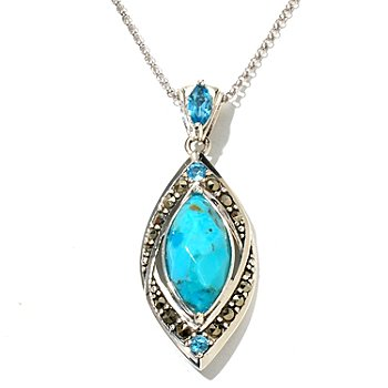 130-212 - Gem Insider Sterling Silver 20 x 10mm Sleeping Beauty Turquoise & Topaz Pendant