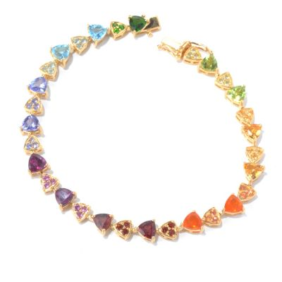 "130-213 - NYC II 7.25"" Trillion Shaped & Pave Set Multi Gemstone Tennis Bracelet"