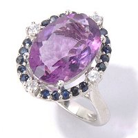 SS/PLAT RING PURPLE FLOURITE w/ BLUE SAPH & WHT ZIRCON