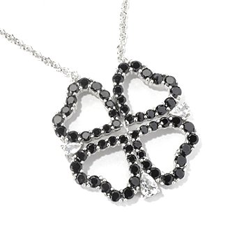 130-216 - NYC II 22'' Black Spinel & White Topaz Convertable 4-Heart Necklace