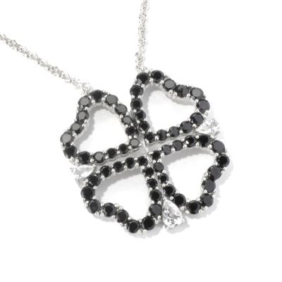 "130-216 - NYC II 22"" Black Spinel & White Topaz Convertable 4-Heart Necklace"