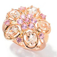 SS/18K ROSE VERMEIL RING MORGANITE & PK SAPH