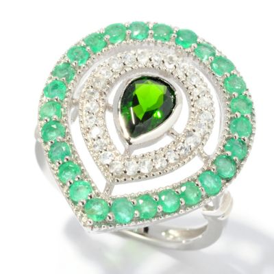 130-218 - NYC II 1.69ctw Emerald, Chrome Diopside & White Zircon Pear Shaped Ring