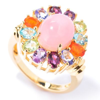 130-219 - NYC II Pink Opal & Multi Gemstone Rainbow Halo Ring
