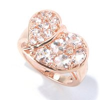 SS/18K ROSE VERMEIL MORGANITE & WHT ZIRCON HEART