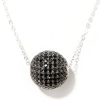 "SS/P PEND 14MM BLK SPINEL BEAD w/ 18"" CHAIN + 2"" EXT"