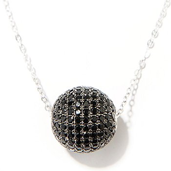 130-228 - NYC II Black Spinel Round Bead Pendant w/ 18'' Chain