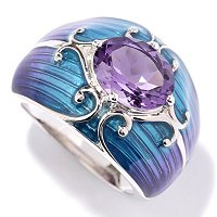 SS/PLAT RING GEMSTONE & GRADATED ENAMEL BAND