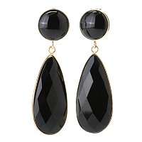 BRONZE/18KGP EAR BLACK ONYX PEAR DROP