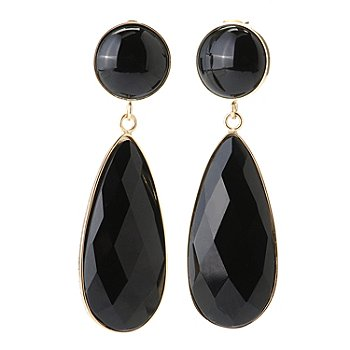 130-255 - Milano Luxe Gold Embraced™ Black Onyx Elongated Teardrop Dangle Earrings