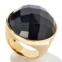 BRONZE/18KGP RING 23MM ROUND ROSE-CUT BLACK ONYX