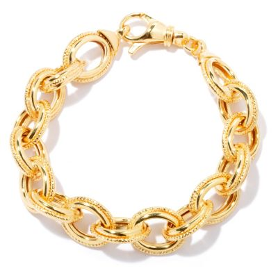 "130-262 - Milano Luxe Gold Embraced™ 8.25"" Polished & Diamond Cut Rolo Bracelet"