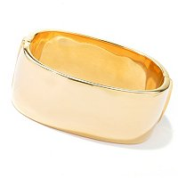 BRONZE/18KGP BRAC HIGH POLISH HINGED SQUARE BANGLE
