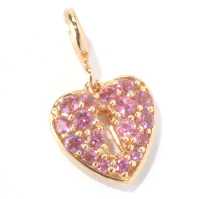 130-284 - NYC II Pink Tourmaline Heart Locket Drop Charm