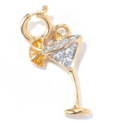 130-285 - NYC II White Zircon & Yellow Enamel Cocktail Charm