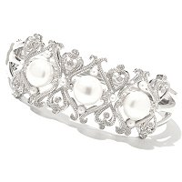 SS BUTTON WHT PEARL BANGLE BRAC W/DIAMOND ACCENTS